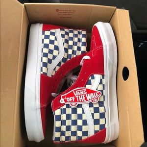 Red and blue checkered Sk8 hi Vans